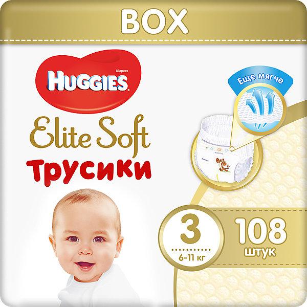 Трусики-подгузники Huggies Elite Soft 3, 6-11 кг, 108 шт.Трусики-подгузники<br>Характеристики:<br><br>• размер: 3;<br>• вес ребенка: 6-11 кг;<br>• количество в упаковке: 108 шт.;<br>• впитывающие каналы;<br>• эластичный поясок;<br>• надеваются как трусики;<br>• индикатор влаги;<br>• воздухопроницаемые поры в виде отверстий;<br>• «дышащие» трусики: более 10 000 микропор.<br><br>Трусики-подгузники легко надеваются и снимаются. Специальные каналы впитывают влагу и помогают запереть ее внутри. Эластичный поясок мягкий на ощупь, адаптируется к размеру животика малыша, не сдавливает, не натирает. Индикатор влаги подсказывает, когда пора сменить трусики. <br> <br>Трусики-подгузники Huggies Elite Soft 3, 6-11 кг, 108 шт. можно купить в нашем интернет-магазине.<br>Ширина мм: 400; Глубина мм: 150; Высота мм: 275; Вес г: 1900; Возраст от месяцев: 3; Возраст до месяцев: 12; Пол: Унисекс; Возраст: Детский; SKU: 7464172;