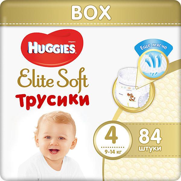 Трусики-подгузники Huggies Elite Soft 4, 9-14 кг, 84 шт.Трусики-подгузники<br>Характеристики:<br><br>• размер: 4;<br>• вес ребенка: 9-14 кг;<br>• количество в упаковке: 84 шт.;<br>• впитывающие каналы;<br>• эластичный поясок;<br>• надеваются как трусики;<br>• индикатор влаги;<br>• воздухопроницаемые поры в виде отверстий;<br>• «дышащие» трусики: более 10 000 микропор.<br><br>Трусики-подгузники легко надеваются и снимаются. Специальные каналы впитывают влагу и помогают запереть ее внутри. Эластичный поясок мягкий на ощупь, адаптируется к размеру животика малыша, не сдавливает, не натирает. Индикатор влаги подсказывает, когда пора сменить трусики. <br> <br>Трусики-подгузники Huggies Elite Soft 4, 9-14 кг, 84 шт. можно купить в нашем интернет-магазине.<br><br>Ширина мм: 420<br>Глубина мм: 150<br>Высота мм: 218<br>Вес г: 1613<br>Возраст от месяцев: 6<br>Возраст до месяцев: 24<br>Пол: Унисекс<br>Возраст: Детский<br>SKU: 7464173
