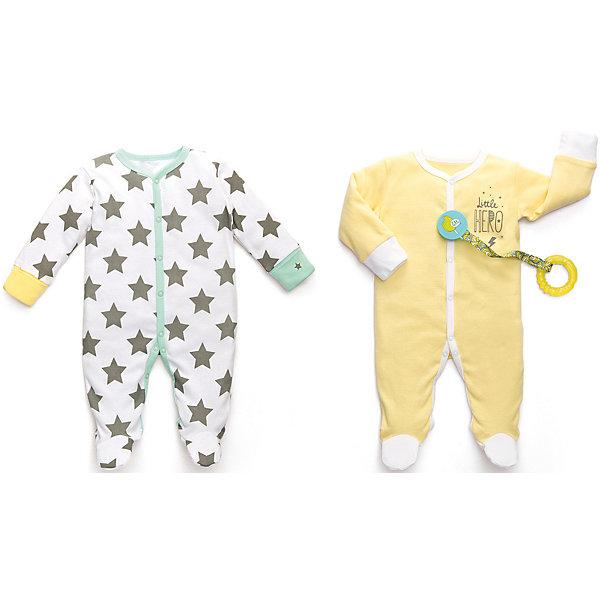 Набор из двух пижам Happy BabyПижамы<br>Характеристики товара:<br><br>• цвет: белый/желтый;<br>• комплектация: 2 пижамы;<br>• состав ткани: 100% хлопок;<br>• сезон: круглый год;<br>• антицарапки (только в размерах 56 и 62);<br>• резиночка для фиксации на пятке;<br>• коллекция: Newborn Fashion Collection;<br>• страна бренда: Россия;<br>• страна изготовитель: Китай.<br><br>Набор из двух пижам предназначен для малышей с самого рождения и соответствует требованиям родителей в отношении функциональности, высокого качества материалов и оптимального кроя! Для размеров 56/62 на рукавах предусмотрены антицарапки, чтобы малыш не поцарапал себя ноготками. Специальные резиночки позволяют мягко фиксировать штанишки на пяточках. <br><br>Натуральная, очень эластичная и мягкая ткань создана из длинноволокнистого, гипоаллергенного хлопка, отлично выводит лишнюю влагу с поверхности тела, не вызывает аллергию или раздражение на коже малыша. Специально разработанное лекало обеспечивает правильную комфортную посадку на фигуре.<br><br>Набор из двух пижам Happy Baby (Хеппи Беби) можно купить в нашем интернет-магазине.<br>Ширина мм: 157; Глубина мм: 13; Высота мм: 119; Вес г: 200; Цвет: желтый/белый; Возраст от месяцев: 0; Возраст до месяцев: 3; Пол: Унисекс; Возраст: Детский; Размер: 56,80,74,68,62; SKU: 7468258;