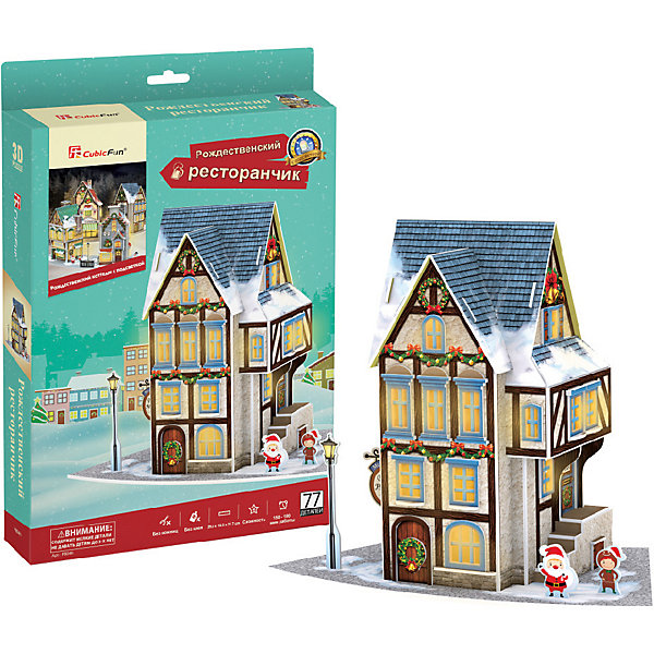 3D пазл CubicFun Рождественский ресторанчик с подсветкой3D пазлы<br>Характеристики товара:<br><br>• возраст: от 8 лет;<br>• в комплекте: 77 элементов;<br>• материал: картон и пена EPS;<br>• батарейки: 3 шт. типа ААА/LR03 (в комплект не входят);<br>• размер упаковки: 22 х5х33 см;<br>• вес упаковки: 377 гг.;<br>• страна производитель: Китай.<br><br>3D пазл CubicFun Рождественский ресторанчик с подсветкой создаст настоящее новогодние настроение. Маленький любитель приключений сможет собственными руками соорудить уютный ресторанчик с рождественскими сладостями, где сам Дедушка Мороз уже упаковывает подарки для детишек.<br><br>Пазл помогает в развитии логики и творческого мышления, внимания, воображения и мелкой моторики.<br><br>3D пазл CubicFun Рождественский ресторанчик с подсветкой можно купить в нашем интернет-магазине.<br>Ширина мм: 220; Глубина мм: 40; Высота мм: 330; Вес г: 377; Цвет: schwarz-kombi; Возраст от месяцев: 96; Возраст до месяцев: 2147483647; Пол: Унисекс; Возраст: Детский; SKU: 7474853;