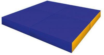 Гимнастический мат Romana  Pro  складной в 4 раза, желто-голубой, артикул:7479606 - Спортивные коврики