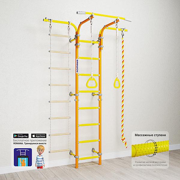 Шведская стенка Romana Karusel S5, оранжеваяШведские стенки<br>Характеристики товара:<br><br>• возраст: от 3 лет;<br>• максимальная нагрузка: 100 кг;<br>• материал: металл, пластик;<br>• в комплекте: канат, кольца гимнастические, веревочная лестница;<br>• размер стенки: 146х84 см;<br>• высота: 225 см;<br>• расстояние между стойками: 41 см;<br>• вид крепления: к стене;<br>• размер упаковки: 116х53,5х14 см;<br>• вес упаковки: 25,76 кг;<br>• страна производитель: Россия.<br><br>Шведская стенка Karusel S5 Romana оранжевая — функциональный спортивный комплекс для ребенка, который поспособствует его физическому развитию, тренировке мышц, координации, равновесия. Крепится стенка надежными креплениями к стене. Пристенный подвижный крепеж позволяет менять расположение стенки, а также подбирать необходимое расположение, перемещая крепеж вверх и вниз. Так как турник крепится к стенку хомутами, то его высоту можно поменять в любой момент. Массажные ступеньки покрыты экопластиком. Выполнена из качественных прочных материалов.<br><br>Шведскую стенку Karusel S5 Romana оранжевую можно приобрести в нашем интернет-магазине.<br>Ширина мм: 1160; Глубина мм: 535; Высота мм: 140; Вес г: 26000; Возраст от месяцев: 36; Возраст до месяцев: 2147483647; Пол: Унисекс; Возраст: Детский; SKU: 7479610;