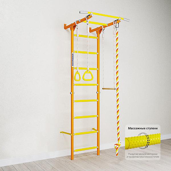 Шведская стенка Romana Karusel S1, оранжеваяШведские стенки<br>Характеристики товара:<br><br>• возраст: от 3 лет;<br>• максимальная нагрузка: 100 кг;<br>• материал: металл, пластик;<br>• в комплекте: канат, кольца, трапеция;<br>• размер стенки: 86х84,3 см;<br>• высота: 218 см;<br>• расстояние между стойками: 49 см;<br>• вид крепления: к стене;<br>• размер упаковки: 116х61х14 см;<br>• вес упаковки: 20,76 кг;<br>• страна производитель: Россия.<br><br>Шведская стенка Karusel S1 Romana оранжевая — функциональный спортивный комплекс для ребенка, который поспособствует его физическому развитию, тренировке мышц, координации, равновесия. Крепится стенка надежными креплениями к стене. Массажные ступеньки покрыты экопластиком. Противоскользящая перекладина AntiSlip обеспечивает хороший захват и препятствует соскальзыванию рук. Выполнена из качественных прочных материалов.<br><br>Шведскую стенку Karusel S1 Romana оранжевую можно приобрести в нашем интернет-магазине.<br>Ширина мм: 1160; Глубина мм: 610; Высота мм: 140; Вес г: 21000; Возраст от месяцев: 36; Возраст до месяцев: 2147483647; Пол: Унисекс; Возраст: Детский; SKU: 7479616;