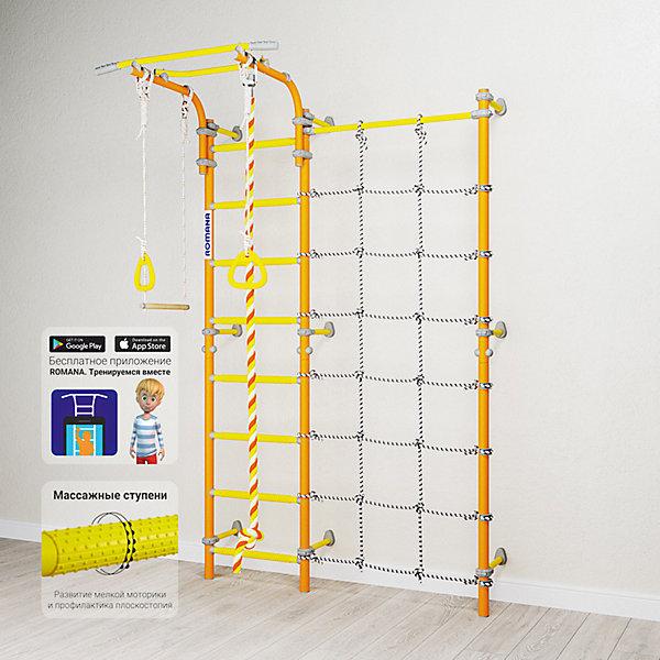 Шведская стенка Romana Karusel S3, оранжеваяШведские стенки<br>Характеристики товара:<br><br>• возраст: от 3 лет;<br>• максимальная нагрузка: 100 кг;<br>• материал: металл, пластик;<br>• в комплекте: канат, гимнастические кольца, трапеция, сетка для лазания;<br>• размер стенки: 151х84 см;<br>• высота: 227 см;<br>• расстояние между стойками: 49 см;<br>• вид крепления: к стене;<br>• размер упаковки: 116х61х14 см;<br>• вес упаковки: 31,22 кг;<br>• страна производитель: Россия.<br><br>Шведская стенка Karusel S3 Romana оранжевая — функциональный спортивный комплекс для ребенка, который поспособствует его физическому развитию, тренировке мышц, координации, равновесия. Крепится стенка надежными креплениями к стене. Турник стенки подвижный, что позволяет устанавливать его на удобной для ребенка высоте. В данной модели нижняя перекладина заменена на канатную ступеньку. Новые катушки-клипсы дополнительно фиксируют шнуры. В комплектации предусмотрен канат, который устанавливается как справа так и слева от лестницы. Выполнена из качественных прочных материалов.<br><br>Шведскую стенку Karusel S3 Romana оранжевую можно приобрести в нашем интернет-магазине.<br>Ширина мм: 1160; Глубина мм: 610; Высота мм: 140; Вес г: 31000; Возраст от месяцев: 36; Возраст до месяцев: 2147483647; Пол: Унисекс; Возраст: Детский; SKU: 7479630;