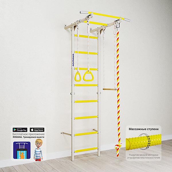 Шведская стенка Romana Karusel S1, белый провансШведские стенки<br>Характеристики товара:<br><br>• возраст: от 3 лет;<br>• максимальная нагрузка: 100 кг;<br>• материал: металл, пластик;<br>• в комплекте: канат, кольца, трапеция;<br>• размер стенки: 86х84,3 см;<br>• высота: 218 см;<br>• расстояние между стойками: 49 см;<br>• вид крепления: к стене;<br>• размер упаковки: 116х61х14 см;<br>• вес упаковки: 20,76 кг;<br>• страна производитель: Россия.<br><br>Шведская стенка Karusel S1 Romana белый прованс — функциональный спортивный комплекс для ребенка, который поспособствует его физическому развитию, тренировке мышц, координации, равновесия. Крепится стенка надежными креплениями к стене. Массажные ступеньки покрыты экопластиком. Противоскользящая перекладина AntiSlip обеспечивает хороший захват и препятствует соскальзыванию рук. Выполнена из качественных прочных материалов.<br><br>Шведскую стенку Karusel S1 Romana белый прованс можно приобрести в нашем интернет-магазине.<br>Ширина мм: 1160; Глубина мм: 610; Высота мм: 140; Вес г: 21000; Возраст от месяцев: 36; Возраст до месяцев: 2147483647; Пол: Унисекс; Возраст: Детский; SKU: 7479634;