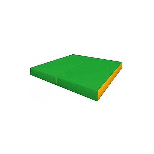 Гимнастический мат Romana Kid складной, желто-зеленыйМаты<br>Характеристики товара:<br><br>• возраст: от 3 лет;<br>• размер щита: 100х100х6 см;<br>• размер упаковки: 101х102х7 см;<br>• вес упаковки: 2,4 кг;<br>• страна производитель: Россия.<br><br>Мягкий щит Romana складной в 2 раза светло-зеленый/желтый — мягкий коврик как для самостоятельного использования и упражнений, так и вместе со спортивными комплексами Romana. Мягкий щит смягчает удар в случае падения ребенка.<br><br>Мягкий щит Romana складной в 2 раза светло-зеленый/желтый можно приобрести в нашем интернет-магазине.<br>Ширина мм: 1000; Глубина мм: 500; Высота мм: 120; Вес г: 2400; Возраст от месяцев: 36; Возраст до месяцев: 2147483647; Пол: Унисекс; Возраст: Детский; SKU: 7479638;