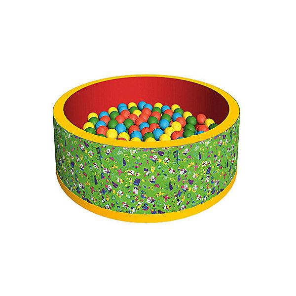 Сухой бассейн Romana Веселая поляна + 100 шариков (зеленый)Бассейны<br>Характеристики товара:<br><br>• возраст: от 3 лет;<br>• материал: пластик, поролон;<br>• в комплекте: бассейн, 100 шариков;<br>• размер бассейна: 100х100х33 см;<br>• толщина стенки: 3 см;<br>• размер упаковки: 70х35х36 см;<br>• вес упаковки: 3,65 кг;<br>• страна производитель: Россия.<br><br>Сухой бассейн с шариками «Веселая поляна» Romana — бассейн для увлекательных игр. Бассейн подойдет как для использования дома, так и на свежем воздухе. Благодаря небольшим габаритам он не занимает много места дома. Сам бассейн выполнен из материала, который легко чистится. Шарики выполнены из качественного безопасного пластика.<br><br>Сухой бассейн с шариками «Веселая поляна» Romana можно приобрести в нашем интернет-магазине.<br>Ширина мм: 700; Глубина мм: 350; Высота мм: 360; Вес г: 4000; Возраст от месяцев: 36; Возраст до месяцев: 2147483647; Пол: Унисекс; Возраст: Детский; SKU: 7479652;