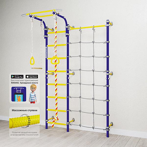 Шведская стенка Romana Karusel S3, синяя сливаШведские стенки<br>Характеристики товара:<br><br>• возраст: от 3 лет;<br>• максимальная нагрузка: 100 кг;<br>• материал: металл, пластик;<br>• в комплекте: канат, гимнастические кольца, трапеция, сетка для лазания;<br>• размер стенки: 151х84 см;<br>• высота: 227 см;<br>• расстояние между стойками: 49 см;<br>• вид крепления: к стене;<br>• размер упаковки: 116х61х14 см;<br>• вес упаковки: 31,22 кг;<br>• страна производитель: Россия.<br><br>Шведская стенка Karusel S3 Romana синяя слива — функциональный спортивный комплекс для ребенка, который поспособствует его физическому развитию, тренировке мышц, координации, равновесия. Крепится стенка надежными креплениями к стене. Турник стенки подвижный, что позволяет устанавливать его на удобной для ребенка высоте. В данной модели нижняя перекладина заменена на канатную ступеньку. Новые катушки-клипсы дополнительно фиксируют шнуры. В комплектации предусмотрен канат, который устанавливается как справа так и слева от лестницы. Выполнена из качественных прочных материалов.<br><br>Шведскую стенку Karusel S3 Romana синяя слива можно приобрести в нашем интернет-магазине.<br>Ширина мм: 1160; Глубина мм: 610; Высота мм: 140; Вес г: 31000; Возраст от месяцев: 36; Возраст до месяцев: 2147483647; Пол: Унисекс; Возраст: Детский; SKU: 7479660;