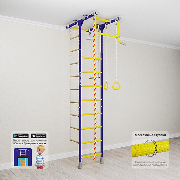 Шведская стенка Romana Kometa 1, синяя сливаШведские стенки<br>Характеристики товара:<br><br>• возраст: от 3 лет;<br>• максимальная нагрузка: 100 кг;<br>• материал: металл;<br>• в комплекте: канат, кольца гимнастические, трапеция, веревочная лестница;<br>• размер стенки: 106х83,5 см;<br>• высота: 235-273 см;<br>• расстояние между стойками: 49 см;<br>• вид крепления: в распор;<br>• размер упаковки: 116х61х14 см;<br>• вес упаковки: 28,21 кг;<br>• страна производитель: Россия.<br><br>Шведская стенка Kometa 1 Romana синяя слива — функциональный спортивный комплекс для ребенка, который поспособствует его физическому развитию, тренировке мышц, координации, равновесия. Устанавливается стенка при помощи креплений в распор: между полом и потолком. Такие крепления не требуют сверления и позволяют менять место стенки в квартире или комнате. <br><br>Стенка Kometa 1 отличается Т-образной рамой. На раме имеются перекладины AntiSlip, которые обеспечивают хороший захват и препятствуют скольжению рук. Выполнена из качественных прочных материалов. С бесплатным приложением «Romana. Тренируемся вместе» ребенок сможет найти много новых упражнений.<br><br>Шведскую стенку Kometa 1 Romana синяя слива можно приобрести в нашем интернет-магазине.<br>Ширина мм: 1160; Глубина мм: 610; Высота мм: 140; Вес г: 28000; Возраст от месяцев: 36; Возраст до месяцев: 2147483647; Пол: Унисекс; Возраст: Детский; SKU: 7479684;