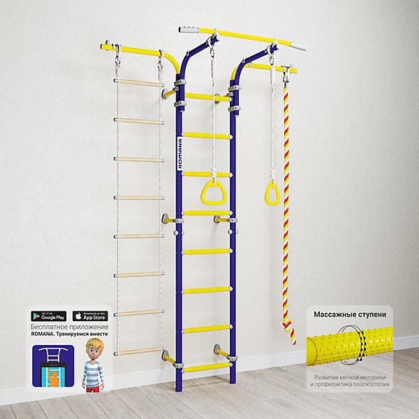 Шведская стенка Romana Karusel S5, синяя сливаШведские стенки<br>Характеристики товара:<br><br>• возраст: от 3 лет;<br>• максимальная нагрузка: 100 кг;<br>• материал: металл, пластик;<br>• в комплекте: канат, кольца гимнастические, веревочная лестница;<br>• размер стенки: 146х84 см;<br>• высота: 225 см;<br>• расстояние между стойками: 41 см;<br>• вид крепления: к стене;<br>• размер упаковки: 116х53,5х14 см;<br>• вес упаковки: 25,76 кг;<br>• страна производитель: Россия.<br><br>Шведская стенка Karusel S5 Romana синяя слива — функциональный спортивный комплекс для ребенка, который поспособствует его физическому развитию, тренировке мышц, координации, равновесия. Крепится стенка надежными креплениями к стене. Пристенный подвижный крепеж позволяет менять расположение стенки, а также подбирать необходимое расположение, перемещая крепеж вверх и вниз. Так как турник крепится к стенку хомутами, то его высоту можно поменять в любой момент. Массажные ступеньки покрыты экопластиком. Выполнена из качественных прочных материалов.<br><br>Шведскую стенку Karusel S5 Romana синяя слива можно приобрести в нашем интернет-магазине.<br><br>Ширина мм: 1160<br>Глубина мм: 535<br>Высота мм: 140<br>Вес г: 26000<br>Возраст от месяцев: 36<br>Возраст до месяцев: 2147483647<br>Пол: Унисекс<br>Возраст: Детский<br>SKU: 7479686