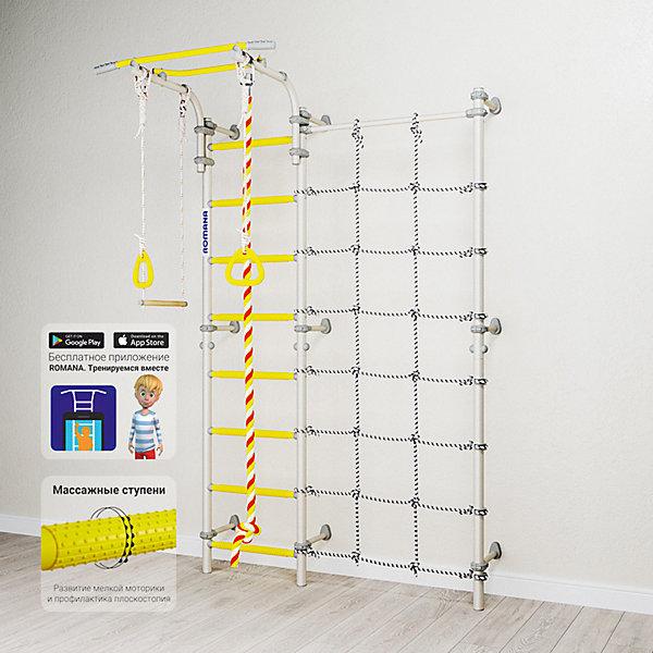 Шведская стенка Romana Karusel S3, белый провансШведские стенки<br>Характеристики товара:<br><br>• возраст: от 3 лет;<br>• максимальная нагрузка: 100 кг;<br>• материал: металл, пластик;<br>• в комплекте: канат, гимнастические кольца, трапеция, сетка для лазания;<br>• размер стенки: 151х84 см;<br>• высота: 227 см;<br>• расстояние между стойками: 49 см;<br>• вид крепления: к стене;<br>• размер упаковки: 116х61х14 см;<br>• вес упаковки: 31,22 кг;<br>• страна производитель: Россия.<br><br>Шведская стенка Karusel S3 Romana белый прованс — функциональный спортивный комплекс для ребенка, который поспособствует его физическому развитию, тренировке мышц, координации, равновесия. Крепится стенка надежными креплениями к стене. Турник стенки подвижный, что позволяет устанавливать его на удобной для ребенка высоте. В данной модели нижняя перекладина заменена на канатную ступеньку. Новые катушки-клипсы дополнительно фиксируют шнуры. В комплектации предусмотрен канат, который устанавливается как справа так и слева от лестницы. Выполнена из качественных прочных материалов.<br><br>Шведскую стенку Karusel S3 Romana белый прованс можно приобрести в нашем интернет-магазине.<br>Ширина мм: 1160; Глубина мм: 610; Высота мм: 140; Вес г: 31000; Возраст от месяцев: 36; Возраст до месяцев: 2147483647; Пол: Унисекс; Возраст: Детский; SKU: 7479700;