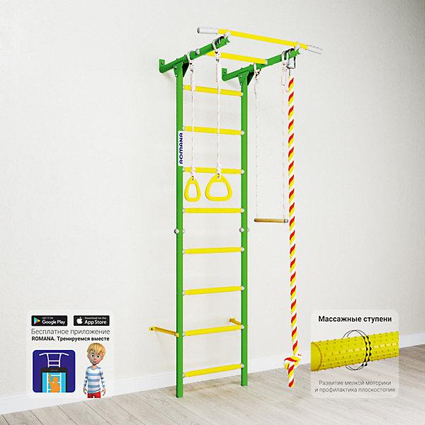 Шведская стенка Romana Karusel S1, зеленое яблокоШведские стенки<br>Характеристики товара:<br><br>• возраст: от 3 лет;<br>• максимальная нагрузка: 100 кг;<br>• материал: металл, пластик;<br>• в комплекте: канат, кольца, трапеция;<br>• размер стенки: 86х84,3 см;<br>• высота: 218 см;<br>• расстояние между стойками: 49 см;<br>• вид крепления: к стене;<br>• размер упаковки: 116х61х14 см;<br>• вес упаковки: 20,76 кг;<br>• страна производитель: Россия.<br><br>Шведская стенка Karusel S1 Romana зеленое яблоко — функциональный спортивный комплекс для ребенка, который поспособствует его физическому развитию, тренировке мышц, координации, равновесия. Крепится стенка надежными креплениями к стене. Массажные ступеньки покрыты экопластиком. Противоскользящая перекладина AntiSlip обеспечивает хороший захват и препятствует соскальзыванию рук. Выполнена из качественных прочных материалов.<br><br>Шведскую стенку Karusel S1 Romana зеленое яблоко можно приобрести в нашем интернет-магазине.<br>Ширина мм: 1160; Глубина мм: 610; Высота мм: 140; Вес г: 21000; Возраст от месяцев: 36; Возраст до месяцев: 2147483647; Пол: Унисекс; Возраст: Детский; SKU: 7479702;