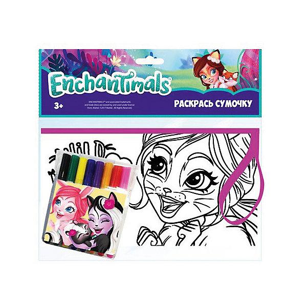Набор для творчества Centrum Enchantimals Раскрась сумку, Фелисити ФоксНаборы для росписи<br>Характеристики:<br><br>• набор для творчества;<br>• пенал-косметичка для раскрашивания;<br>• яркие и насыщенные цвета фломастеров;<br>• на сумку нанесен контур рисунка;<br>• для контура используется флок – эффект бархата;<br>• размер косметички: 19х10 см.<br><br>Маленькая модница своими руками изготовит стильный аксессуар. Сумочка для раскрашивания с нанесенным контурным рисунком и белыми зонами, которые заполняются цветом для создания объемной аппликации. После раскрашивания желательно оставить сумочку до полного высыхания.  <br><br>Комплектация набора: <br><br>• пенал-раскраска 19х10 см;<br>• фломастеры 12 цветов;<br>• блистерная упаковка с подвесом.<br><br>Набор раскрась сумку Enchantimals можно купить в нашем интернет-магазине.<br>Ширина мм: 30; Глубина мм: 235; Высота мм: 215; Вес г: 200; Цвет: разноцветный; Возраст от месяцев: 36; Возраст до месяцев: 84; Пол: Женский; Возраст: Детский; SKU: 7481526;