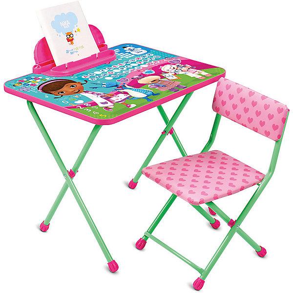 Комплект мебели Nika Kids Disney 1 Доктор ПлюшеваДетские столы и стулья<br>Характеристики:<br><br>• возраст: от 1,5 лет;<br>• материал: металл, пластик;<br>• размер: столешницы - 60х45 см, сиденья - 26х29 см;<br>• встроенный пенал;<br>• без подставки для ног;<br>• мягкий стул;<br>• высота: стол - 52 см, спинка стула - 53 см, до сиденья - 28 см;<br>• вес упаковки: 7,7 кг.;<br>• размер упаковки: 75х61,5х16 см;<br>• страна производитель: Россия.<br><br>Комплект из стола и стула от Nika станет первым собственным рабочим местом малыша. Складная конструкция делает мебель компактной, набор легко хранить и перевозить.<br><br>Поверхность столешницы имеет глянцевое цветное покрытие с красочными обучающими рисунками. Подходит для рисования маркерами на водной основе. Скругленные углы столешницы обеспечивают безопасное использование.<br><br>Сиденье и спинка стула мягкие, что делает занятия еще комфортнее. Комплект разработан из качественных материалов с учетом правильного развития детской осанки. Отлично подойдет для обучения и игр.<br><br>Комплект «Disney 1 - Доктор Плюшева» Д1П/ДП можно купить в нашем интернет-магазине.<br>Ширина мм: 750; Глубина мм: 615; Высота мм: 160; Вес г: 7700; Цвет: синий; Возраст от месяцев: 36; Возраст до месяцев: 84; Пол: Унисекс; Возраст: Детский; SKU: 7483489;