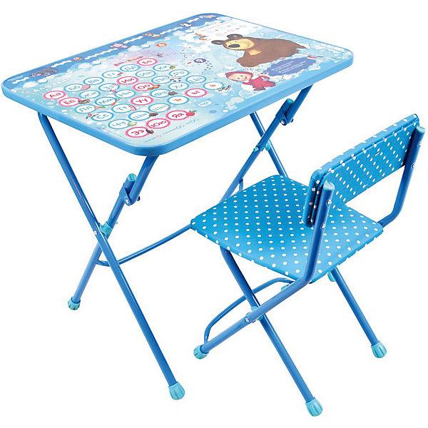 Комплект мебели Nika Kids Маша и Медведь Азбука 4 (мягкое сиденье)Детские столы и стулья<br>Характеристики:<br><br>• возраст: от 3 лет;<br>• материал: металл, пластик;<br>• размер: столешницы - 60х45 см, сиденья - 31х27 см;<br>• пенал: нет;<br>• подставка для ног;<br>• мягкий стул;<br>• высота: стол - 58 см, спинка стула - 57 см, до сиденья - 32 см;<br>• вес упаковки: 7,45 кг.;<br>• размер упаковки: 75х61,5х16 см;<br>• страна производитель: Россия.<br><br>Комплект из стола и стула от Nika станет первым собственным рабочим местом малыша. Удобная конструкция делает столик универсальным и для совсем юных, и для подросших детей.<br><br>Поверхность столешницы имеет глянцевое цветное покрытие с обучающими рисунками. Подходит для рисования маркерами на водной основе. Скругленные углы столешницы обеспечивают безопасное использование.<br><br>Сиденье и спинка стула мягкие, что делает занятия комфортнее. Комплект разработан из качественных материалов с учетом правильного развития детской осанки. Отлично подойдет для обучения и игр.<br><br>Комплект «Азбука 4: Маша и Медведь» КУ1/18 можно купить в нашем интернет-магазине.<br>Ширина мм: 750; Глубина мм: 615; Высота мм: 160; Вес г: 7450; Цвет: синий; Возраст от месяцев: 36; Возраст до месяцев: 84; Пол: Унисекс; Возраст: Детский; SKU: 7483495;