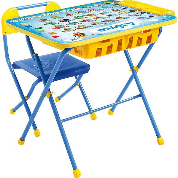Комплект мебели Nika Kids Азбука (большой пенал)Детские столы и стулья<br>Характеристики:<br><br>• возраст: от 3 лет;<br>• материал: металл, пластик;<br>• размер: столешницы - 60х45 см, сиденья - 26х29 см;<br>• встроенный пенал;<br>• подставка для ног;<br>• пластиковый стул;<br>• высота: стол - 58 см, спинка стула - 61 см, до сиденья - 35 см;<br>• вес упаковки: 8,24 кг.;<br>• размер упаковки: 75х61,5х16 см;<br>• страна производитель: Россия.<br><br>Комплект из стола и стула от Nika станет первым собственным рабочим местом малыша. Удобная конструкция делает столик универсальным и для совсем юных, и для подросших детей.<br><br>Поверхность столешницы имеет глянцевое цветное покрытие с обучающими рисунками. Подходит для рисования маркерами на водной основе. Скругленные углы столешницы обеспечивают безопасное использование.<br><br>Сиденье и спинка стула выполнены из прочного пластика, легко моются. Комплект разработан из качественных материалов с учетом правильного развития детской осанки. Отлично подойдет для обучения и игр.<br><br>Комплект «Азбука» КПУ2П/9 можно купить в нашем интернет-магазине.<br>Ширина мм: 750; Глубина мм: 615; Высота мм: 160; Вес г: 8240; Цвет: синий; Возраст от месяцев: 36; Возраст до месяцев: 84; Пол: Унисекс; Возраст: Детский; SKU: 7483497;