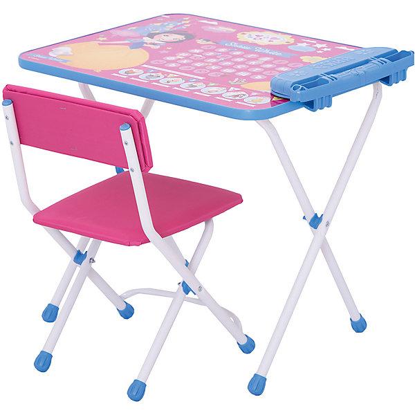 Комплект мебели Nika Kids Disney 1 БелоснежкаДетские столы и стулья<br>Характеристики:<br><br>• возраст: от 1,5 лет;<br>• материал: металл, пластик;<br>• размер: столешницы - 60х45 см, сиденья - 26х29 см;<br>• встроенный пенал;<br>• без подставки для ног;<br>• мягкий стул;<br>• высота: стол - 52 см, спинка стула - 53 см, до сиденья - 28 см;<br>• вес упаковки: 7,7 кг.;<br>• размер упаковки: 75х61,5х16 см;<br>• страна производитель: Россия.<br><br>Комплект из стола и стула от Nika станет первым собственным рабочим местом малыша. Складная конструкция делает мебель компактной, набор легко хранить и перевозить.<br><br>Поверхность столешницы имеет глянцевое цветное покрытие с красочными обучающими рисунками. Подходит для рисования маркерами на водной основе. Скругленные углы столешницы обеспечивают безопасное использование.<br><br>Сиденье и спинка стула мягкие, что делает занятия еще комфортнее. Комплект разработан из качественных материалов с учетом правильного развития детской осанки. Отлично подойдет для обучения и игр.<br><br>Комплект «Disney 1 - с Белоснежкой» Д1БК/-М можно купить в нашем интернет-магазине.<br>Ширина мм: 750; Глубина мм: 615; Высота мм: 160; Вес г: 7700; Цвет: серебряный; Возраст от месяцев: 36; Возраст до месяцев: 84; Пол: Женский; Возраст: Детский; SKU: 7483499;
