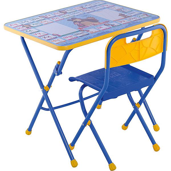 Комплект мебели Nika Kids Маша и Медведь Азбука 2Детские столы и стулья<br>Характеристики:<br><br>• возраст: от 3 лет;<br>• материал: металл, пластик;<br>• размер: столешницы - 60х45 см, сиденья - 26х29 см;<br>• пенал: нет;<br>• подставка для ног;<br>• пластиковый стул;<br>• высота: стол - 58 см, спинка стула - 61 см, до сиденья - 35 см;<br>• вес упаковки: 7,35 кг.;<br>• размер упаковки: 75х61,5х16 см;<br>• страна производитель: Россия.<br><br>Комплект из стола и стула от Nika станет первым собственным рабочим местом малыша. Удобная конструкция делает столик универсальным и для совсем юных, и для подросших детей.<br><br>Поверхность столешницы имеет глянцевое цветное покрытие с обучающими рисунками. Подходит для рисования маркерами на водной основе. Скругленные углы столешницы обеспечивают безопасное использование.<br><br>Сиденье и спинка стула выполнены из прочного пластика, легко моются. Комплект разработан из качественных материалов с учетом правильного развития детской осанки. Отлично подойдет для обучения и игр.<br><br>Комплект «Азбука 2: Маша и Медведь» КПУ1/2 можно купить в нашем интернет-магазине.<br>Ширина мм: 750; Глубина мм: 615; Высота мм: 160; Вес г: 7350; Цвет: синий; Возраст от месяцев: 36; Возраст до месяцев: 84; Пол: Унисекс; Возраст: Детский; SKU: 7483509;