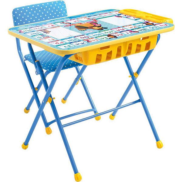 Комплект мебели Nika Kids Маша и Медведь Азбука 2 (большой пенал, мягкое сиденье)Детские столы и стулья<br>Характеристики:<br><br>• возраст: от 3 лет;<br>• материал: металл, пластик;<br>• размер: столешницы - 60х45 см, сиденья - 31х27 см;<br>• встроенный пенал;<br>• подставка для ног;<br>• мягкий стул;<br>• высота: стол - 58 см, спинка стула - 57 см, до сиденья - 32 см;<br>• вес упаковки: 8,15 кг.;<br>• размер упаковки: 75х61,5х16 см;<br>• страна производитель: Россия.<br><br>Комплект из стола и стула от Nika станет первым собственным рабочим местом малыша. Удобная конструкция делает столик универсальным и для совсем юных, и для подросших детей.<br><br>Поверхность столешницы имеет ламинированное покрытие с обучающими рисунками. Подходит для рисования маркерами на водной основе. Скругленные углы столешницы обеспечивают безопасное использование.<br><br>Сиденье и спинка стула мягкие, что делает занятия комфортнее. Комплект разработан из качественных материалов с учетом правильного развития детской осанки. Отлично подойдет для обучения и игр.<br><br>Комплект «Азбука 2: Маша и Медведь» КУ2П/2 можно купить в нашем интернет-магазине.<br>Ширина мм: 750; Глубина мм: 615; Высота мм: 160; Вес г: 8150; Цвет: синий; Возраст от месяцев: 36; Возраст до месяцев: 84; Пол: Унисекс; Возраст: Детский; SKU: 7483511;