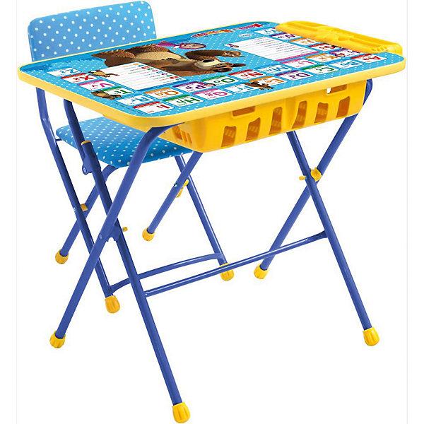 Комплект мебели Nika Kids Маша и Медведь Английская азбука (большой пенал, мягкое сиденье)Детские столы и стулья<br>Характеристики:<br><br>• возраст: от 3 лет;<br>• материал: металл, пластик;<br>• размер: столешницы - 60х45 см, сиденья - 31х27 см;<br>• встроенный пенал;<br>• подставка для ног;<br>• мягкий стул;<br>• высота: стол - 58 см, спинка стула - 57 см, до сиденья - 32 см;<br>• вес упаковки: 8,15 кг.;<br>• размер упаковки: 75х61,5х16 см;<br>• страна производитель: Россия.<br><br>Комплект из стола и стула от Nika станет первым собственным рабочим местом малыша. Удобная конструкция делает столик универсальным и для совсем юных, и для подросших детей.<br><br>Поверхность столешницы имеет ламинированное покрытие с обучающими рисунками. Подходит для рисования маркерами на водной основе. Скругленные углы столешницы обеспечивают безопасное использование.<br><br>Сиденье и спинка стула мягкие, что делает занятия комфортнее. Комплект разработан из качественных материалов с учетом правильного развития детской осанки. Отлично подойдет для обучения и игр.<br><br>Комплект «Английская азбука: Маша и Медведь» КУ2П/4 можно купить в нашем интернет-магазине.<br>Ширина мм: 750; Глубина мм: 615; Высота мм: 160; Вес г: 8150; Цвет: синий; Возраст от месяцев: 36; Возраст до месяцев: 84; Пол: Унисекс; Возраст: Детский; SKU: 7483515;