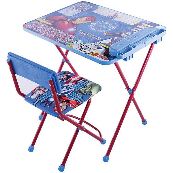 Комплект мебели Nika Kids Disney 4 МстителиДетские столы и стулья<br>Характеристики:<br><br>• возраст: от 3 лет;<br>• материал: металл, пластик;<br>• размер: столешницы - 60х45 см, сиденья - 31х27 см;<br>• встроенный пенал;<br>• без подставки для ног;<br>• мягкий стул;<br>• высота: стол - 58 см, спинка стула - 57 см, до сиденья - 32 см;<br>• вес упаковки: 7,7 кг.;<br>• размер упаковки: 75х61,5х16 см;<br>• страна производитель: Россия.<br><br>Комплект из стола и стула от Nika станет первым собственным рабочим местом малыша. Удобная конструкция делает столик универсальным и для совсем юных, и для подросших детей.<br><br>Поверхность столешницы имеет глянцевое цветное покрытие с обучающими рисунками. Подходит для рисования маркерами на водной основе. Скругленные углы столешницы обеспечивают безопасное использование.<br><br>Сиденье и спинка стула мягкие, что делает занятия комфортнее. Комплект разработан из качественных материалов с учетом правильного развития детской осанки. Отлично подойдет для обучения и игр.<br><br>Комплект «Disney 4 - Мстители» Д4А можно купить в нашем интернет-магазине.<br>Ширина мм: 750; Глубина мм: 615; Высота мм: 160; Вес г: 7700; Цвет: синий; Возраст от месяцев: 36; Возраст до месяцев: 84; Пол: Мужской; Возраст: Детский; SKU: 7483519;