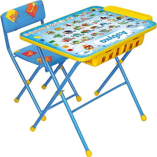 Комплект мебели Nika Kids Азбука (большой пенал, мягкое сиденье)Детские столы и стулья<br>Характеристики:<br><br>• возраст: от 3 лет;<br>• материал: металл, пластик;<br>• размер: столешницы - 60х45 см, сиденья - 31х27 см;<br>• встроенный пенал;<br>• подставка для ног;<br>• мягкий стул;<br>• высота: стол - 58 см, спинка стула - 57 см, до сиденья - 32 см;<br>• вес упаковки: 8,15 кг.;<br>• размер упаковки: 75х61,5х16 см;<br>• страна производитель: Россия.<br><br>Комплект из стола и стула от Nika станет первым собственным рабочим местом малыша. Удобная конструкция делает столик универсальным и для совсем юных, и для подросших детей.<br><br>Поверхность столешницы имеет ламинированное покрытие с обучающими рисунками. Подходит для рисования маркерами на водной основе. Скругленные углы столешницы обеспечивают безопасное использование.<br><br>Сиденье и спинка стула мягкие, что делает занятия комфортнее. Комплект разработан из качественных материалов с учетом правильного развития детской осанки. Отлично подойдет для обучения и игр.<br><br>Комплект «Азбука» КУ2П/9 можно купить в нашем интернет-магазине.<br>Ширина мм: 750; Глубина мм: 615; Высота мм: 160; Вес г: 8150; Цвет: синий; Возраст от месяцев: 36; Возраст до месяцев: 84; Пол: Унисекс; Возраст: Детский; SKU: 7483531;