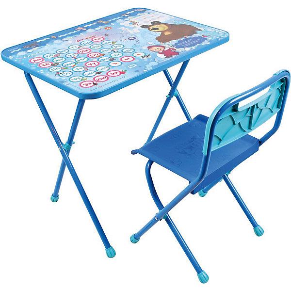 Комплект мебели Nika Kids Маша и Медведь Азбука 4Детские столы и стулья<br>Характеристики:<br><br>• возраст: от 1,5 лет;<br>• материал: металл, пластик;<br>• размер: столешницы - 60х45 см, сиденья - 26х29 см;<br>• пенал: нет;<br>• без одставки для ног;<br>• пластиковый стул;<br>• высота: стол - 52 см, спинка стула - 55 см, до сиденья - 30 см;<br>• вес упаковки: 6,95 кг.;<br>• размер упаковки: 75х61,5х16 см;<br>• страна производитель: Россия.<br><br>Комплект из стола и стула от Nika станет первым собственным рабочим местом малыша. Складная конструкция делает мебель компактной, набор легко хранить и перевозить.<br><br>Поверхность столешницы имеет глянцевое цветное покрытие с красочными обучающими рисунками. Подходит для рисования маркерами на водной основе. Скругленные углы столешницы обеспечивают безопасное использование.<br><br>Сиденье и спинка стула изготовлены из прочного пластика, без труда моются. Комплект разработан из качественных материалов с учетом правильного развития детской осанки. Отлично подойдет для обучения и игр.<br><br>Комплект «Азбука 4: Маша и Медведь» КП/18 можно купить в нашем интернет-магазине.<br>Ширина мм: 750; Глубина мм: 615; Высота мм: 160; Вес г: 6950; Цвет: синий; Возраст от месяцев: 36; Возраст до месяцев: 84; Пол: Унисекс; Возраст: Детский; SKU: 7483535;