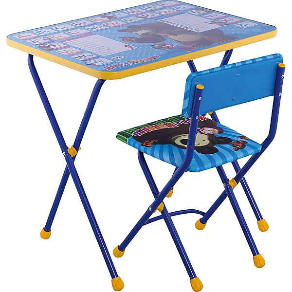 Комплект мебели Nika Kids Маша и Медведь Анлийская азбука (мягкое сиденье)Детские столы и стулья<br>Характеристики:<br><br>• возраст: от 3 лет;<br>• материал: металл, пластик;<br>• размер: столешницы - 60х45 см, сиденья - 31х27 см;<br>• пенал: нет;<br>• без подставки для ног;<br>• мягкий стул;<br>• высота: стол - 58 см, спинка стула - 57 см, до сиденья - 32 см;<br>• вес упаковки: 7,4 кг.;<br>• размер упаковки: 75х61,5х16 см;<br>• страна производитель: Россия.<br><br>Комплект из стола и стула от Nika организует собственное рабочее место для малыша. Складная конструкция делает мебель компактной, набор легко хранить и перевозить.<br><br>Поверхность столешницы имеет ламинированное покрытие с обучающими рисунками. Подходит для рисования маркерами на водной основе. Скругленные углы столешницы обеспечивают безопасное использование.<br><br>Сиденье и спинка стула мягкие, что делает занятия комфортнее. Комплект разработан из качественных материалов с учетом правильного развития детской осанки. Отлично подойдет для обучения и игр.<br><br>Комплект «Познайка 2/4» Англ. азбука 3: «Маша и Медведь» КП2/4 можно купить в нашем интернет-магазине.<br>Ширина мм: 750; Глубина мм: 615; Высота мм: 160; Вес г: 7400; Цвет: синий; Возраст от месяцев: 36; Возраст до месяцев: 84; Пол: Унисекс; Возраст: Детский; SKU: 7483537;