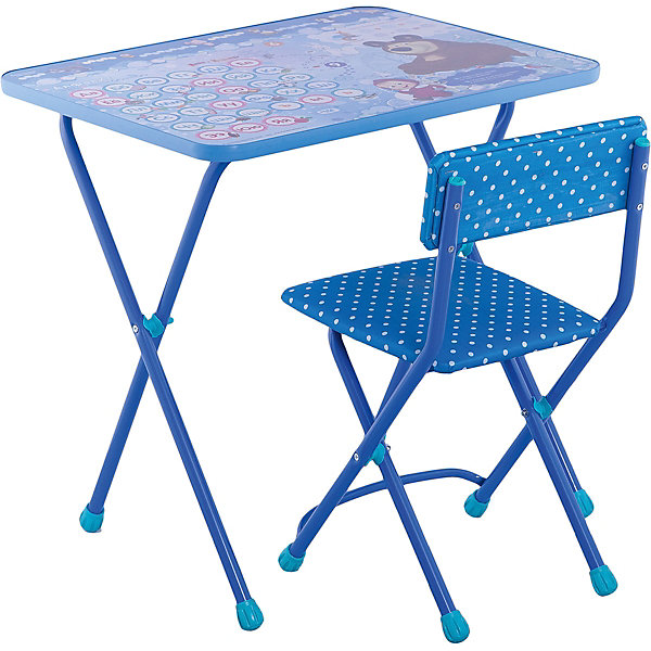 Комплект мебели Nika Kids Маша и Медведь Азбука 4 (мягкое сиденье)Детские столы и стулья<br>Характеристики:<br><br>• возраст: от 3 лет;<br>• материал: металл, пластик;<br>• размер: столешницы - 60х45 см, сиденья - 31х27 см;<br>• пенал: нет;<br>• без подставки для ног;<br>• мягкий стул;<br>• высота: стол - 58 см, спинка стула - 57 см, до сиденья - 32 см;<br>• вес упаковки: 7,4 кг.;<br>• размер упаковки: 75х61,5х16 см;<br>• страна производитель: Россия.<br><br>Комплект из стола и стула от Nika организует собственное рабочее место для малыша. Складная конструкция делает мебель компактной, набор легко хранить и перевозить.<br><br>Поверхность столешницы имеет ламинированное покрытие с обучающими рисунками. Подходит для рисования маркерами на водной основе. Скругленные углы столешницы обеспечивают безопасное использование.<br><br>Сиденье и спинка стула мягкие, что делает занятия комфортнее. Комплект разработан из качественных материалов с учетом правильного развития детской осанки. Отлично подойдет для обучения и игр.<br><br>Комплект «Азбука 4: Маша и Медвель» КП2/18 можно купить в нашем интернет-магазине.<br>Ширина мм: 750; Глубина мм: 615; Высота мм: 160; Вес г: 7400; Цвет: синий; Возраст от месяцев: 36; Возраст до месяцев: 84; Пол: Унисекс; Возраст: Детский; SKU: 7483539;