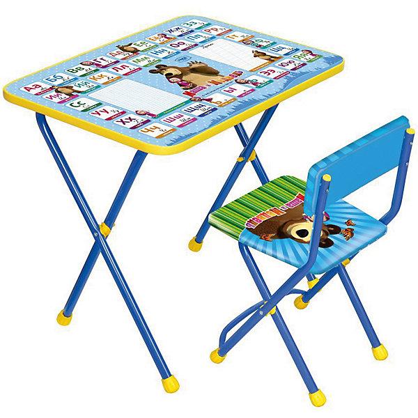 Комплект мебели Nika Kids Маша и Медведь Азбука 2 (мягкое сиденье)Детские столы и стулья<br>Характеристики:<br><br>• возраст: от 3 лет;<br>• материал: металл, пластик;<br>• размер: столешницы - 60х45 см, сиденья - 31х27 см;<br>• пенал: нет;<br>• без подставки для ног;<br>• мягкий стул;<br>• высота: стол - 58 см, спинка стула - 57 см, до сиденья - 32 см;<br>• вес упаковки: 7,4 кг.;<br>• размер упаковки: 75х61,5х16 см;<br>• страна производитель: Россия.<br><br>Комплект из стола и стула от Nika организует собственное рабочее место для малыша. Складная конструкция делает мебель компактной, набор легко хранить и перевозить.<br><br>Поверхность столешницы имеет ламинированное покрытие с обучающими рисунками. Подходит для рисования маркерами на водной основе. Скругленные углы столешницы обеспечивают безопасное использование.<br><br>Сиденье и спинка стула мягкие, что делает занятия комфортнее. Комплект разработан из качественных материалов с учетом правильного развития детской осанки. Отлично подойдет для обучения и игр.<br><br>Комплект «Познайка 2/2» Азбука 2: «Маша и Медведь» КП2/2 можно купить в нашем интернет-магазине.<br>Ширина мм: 750; Глубина мм: 615; Высота мм: 160; Вес г: 7400; Цвет: синий; Возраст от месяцев: 36; Возраст до месяцев: 84; Пол: Унисекс; Возраст: Детский; SKU: 7483541;