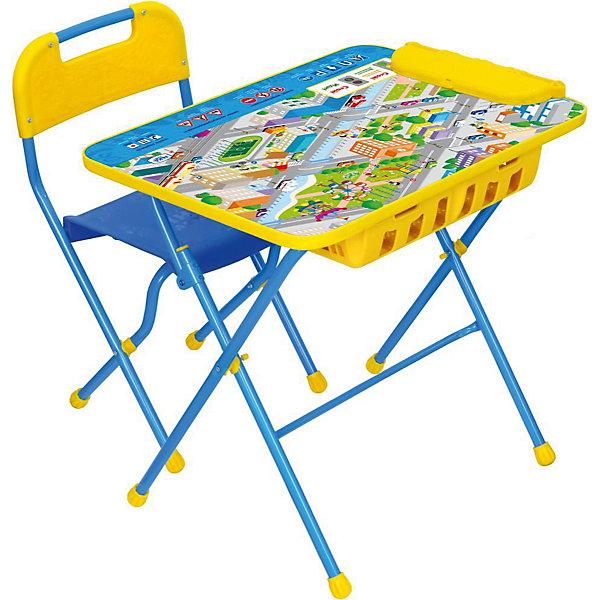 Комплект мебели Nika Kids Правила дорожного движения (большой пенал)Детские столы и стулья<br>Характеристики:<br><br>• возраст: от 3 лет;<br>• материал: металл, пластик;<br>• размер: столешницы - 60х45 см, сиденья - 26х29 см;<br>• встроенный пенал;<br>• подставка для ног;<br>• пластиковый стул;<br>• высота: стол - 58 см, спинка стула - 61 см, до сиденья - 35 см;<br>• вес упаковки: 8,24 кг.;<br>• размер упаковки: 75х61,5х16 см;<br>• страна производитель: Россия.<br><br>Комплект из стола и стула от Nika станет первым собственным рабочим местом малыша. Удобная конструкция делает столик универсальным и для совсем юных, и для подросших детей.<br><br>Поверхность столешницы имеет глянцевое цветное покрытие с обучающими рисунками. Подходит для рисования маркерами на водной основе. Скругленные углы столешницы обеспечивают безопасное использование.<br><br>Сиденье и спинка стула выполнены из прочного пластика, легко моются. Комплект разработан из качественных материалов с учетом правильного развития детской осанки. Отлично подойдет для обучения и игр.<br><br>Комплект «Правила дорожного движения» КПУ2П/14 можно купить в нашем интернет-магазине.<br>Ширина мм: 750; Глубина мм: 615; Высота мм: 160; Вес г: 8240; Цвет: синий; Возраст от месяцев: 36; Возраст до месяцев: 84; Пол: Унисекс; Возраст: Детский; SKU: 7483543;