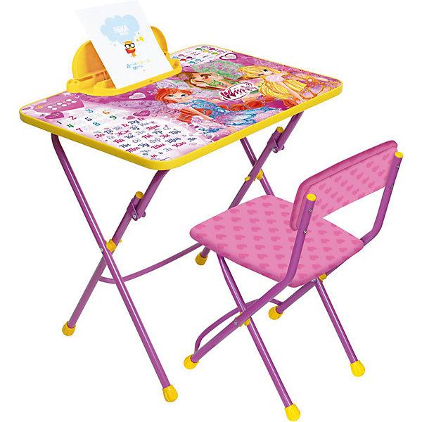 Комплект мебели Nika Kids Winx Club АзбукаДетские столы и стулья<br>Характеристики:<br><br>• возраст: от 3 лет;<br>• материал: металл, пластик;<br>• размер: столешницы - 60х45 см, сиденья - 31х27 см;<br>• встроенный пенал;<br>• подставка для ног;<br>• мягкий стул;<br>• высота: стол - 58 см, спинка стула - 57 см, до сиденья - 32 см;<br>• вес упаковки: 4,75 кг.;<br>• размер упаковки: 75х61,5х16 см;<br>• страна производитель: Россия.<br><br>Комплект из стола и стула от Nika станет первым собственным рабочим местом малыша. Удобная конструкция делает столик универсальным и для совсем юных, и для подросших детей.<br><br>Поверхность столешницы имеет глянцевое цветное покрытие с обучающими рисунками, включая цифры и алфавит. Подходит для рисования маркерами на водной основе. Скругленные углы столешницы обеспечивают безопасное использование.<br><br>Сиденье и спинка стула мягкие, что делает занятия комфортнее. Комплект разработан из качественных материалов с учетом правильного развития детской осанки. Отлично подойдет для обучения и игр.<br><br>Комплект «Винкс-Азбука» В3А можно купить в нашем интернет-магазине.<br>Ширина мм: 750; Глубина мм: 615; Высота мм: 160; Вес г: 4750; Цвет: розовый; Возраст от месяцев: 36; Возраст до месяцев: 84; Пол: Женский; Возраст: Детский; SKU: 7483555;