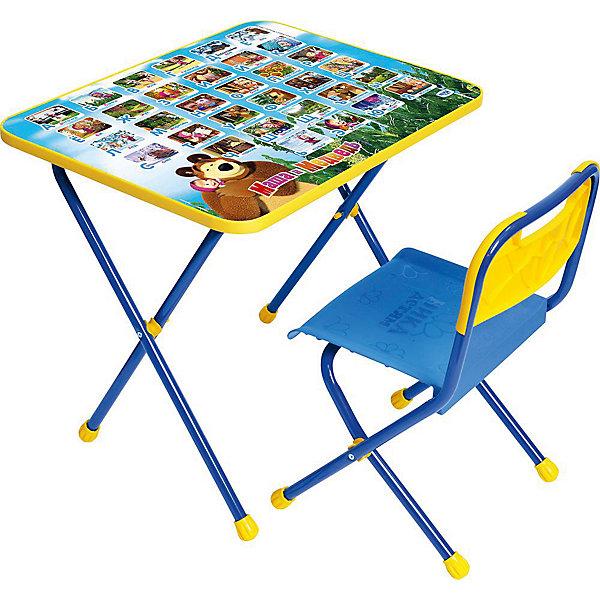 Комплект мебели Nika Kids Маша и Медведь Азбука 1Детские столы и стулья<br>Характеристики:<br><br>• возраст: от 1,5 лет;<br>• материал: металл, пластик;<br>• размер: столешницы - 60х45 см, сиденья - 26х29 см;<br>• пенал: нет;<br>• без подставки для ног;<br>• пластиковый стул;<br>• высота: стол - 52 см, спинка стула - 55 см, до сиденья - 30 см;<br>• вес упаковки: 6,95 кг.;<br>• размер упаковки: 75х61,5х16 см;<br>• страна производитель: Россия.<br><br>Комплект из стола и стула от Nika станет первым собственным рабочим местом малыша. Складная конструкция делает мебель компактной, набор легко хранить и перевозить.<br><br>Поверхность столешницы имеет глянцевое цветное покрытие с красочными обучающими рисунками. Подходит для рисования маркерами на водной основе. Скругленные углы столешницы обеспечивают безопасное использование.<br><br>Сиденье и спинка стула изготовлены из прочного пластика, без труда моются. Комплект разработан из качественных материалов с учетом правильного развития детской осанки. Отлично подойдет для обучения и игр.<br><br>Комплект «Азбука 1: Маша и Медведь» КП/1 можно купить в нашем интернет-магазине.<br><br>Ширина мм: 750<br>Глубина мм: 615<br>Высота мм: 160<br>Вес г: 6950<br>Цвет: синий<br>Возраст от месяцев: 36<br>Возраст до месяцев: 84<br>Пол: Унисекс<br>Возраст: Детский<br>SKU: 7483559