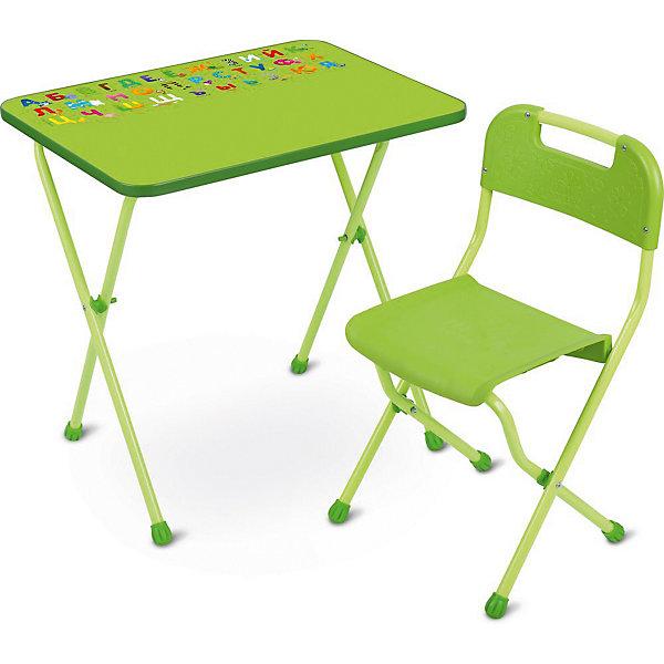 Комплект мебели Nika Kids Алина, салатовыйДетские столы и стулья<br>Характеристики:<br><br>• возраст: от 3 лет;<br>• материал: металл, пластик;<br>• размер: столешницы - 60х45 см, сиденья - 26х29 см;<br>• пенал: нет;<br>• без подставки для ног;<br>• пластиковый стул;<br>• высота: стол - 58 см, спинка стула - 61 см, до сиденья - 35 см;<br>• вес упаковки: 7,15 кг.;<br>• размер упаковки: 75х61,5х16 см;<br>• страна производитель: Россия.<br><br>Комплект из стола и стула от Nika организует собственное рабочее место для малыша. Удобная конструкция делает столик универсальным и для совсем юных, и для подросших детей.<br><br>Поверхность столешницы имеет ламинированное покрытие с обучающими рисунками. Подходит для рисования маркерами на водной основе. Скругленные углы столешницы обеспечивают безопасное использование.<br><br>Сиденье и спинка стула выполнены из качественного пластика, легко моются. Комплект разработан из качественных материалов с учетом правильного развития детской осанки. Отлично подойдет для обучения и игр.<br><br>Комплект «Алина» салатовый КА2/С можно купить в нашем интернет-магазине.<br>Ширина мм: 750; Глубина мм: 615; Высота мм: 160; Вес г: 7150; Цвет: зеленый; Возраст от месяцев: 36; Возраст до месяцев: 84; Пол: Унисекс; Возраст: Детский; SKU: 7483561;