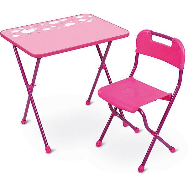 Комплект мебели Nika Kids Алина, розовыйДетские столы и стулья<br>Характеристики:<br><br>• возраст: от 3 лет;<br>• материал: металл, пластик;<br>• размер: столешницы - 60х45 см, сиденья - 26х29 см;<br>• пенал: нет;<br>• без подставки для ног;<br>• пластиковый стул;<br>• высота: стол - 58 см, спинка стула - 61 см, до сиденья - 35 см;<br>• вес упаковки: 7,15 кг.;<br>• размер упаковки: 75х61,5х16 см;<br>• страна производитель: Россия.<br><br>Комплект из стола и стула от Nika организует собственное рабочее место для малыша. Удобная конструкция делает столик универсальным и для совсем юных, и для подросших детей.<br><br>Поверхность столешницы имеет ламинированное покрытие с обучающими рисунками. Подходит для рисования маркерами на водной основе. Скругленные углы столешницы обеспечивают безопасное использование.<br><br>Сиденье и спинка стула выполнены из качественного пластика, легко моются. Комплект разработан из качественных материалов с учетом правильного развития детской осанки. Отлично подойдет для обучения и игр.<br><br>Комплект «Алина» розовый КА2/Р можно купить в нашем интернет-магазине.<br>Ширина мм: 750; Глубина мм: 615; Высота мм: 160; Вес г: 7150; Цвет: розовый; Возраст от месяцев: 36; Возраст до месяцев: 84; Пол: Женский; Возраст: Детский; SKU: 7483563;