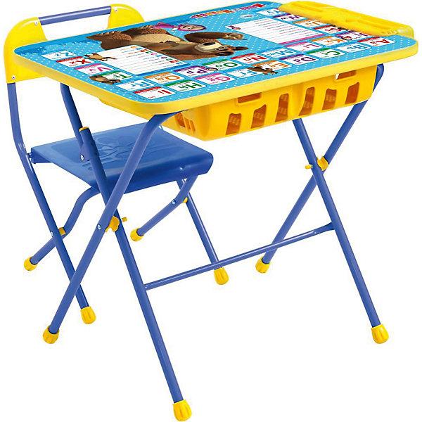 Комплект мебели Nika Kids Маша и Медведь Английская азбука (большой пенал)Детские столы и стулья<br>Характеристики:<br><br>• возраст: от 3 лет;<br>• материал: металл, пластик;<br>• размер: столешницы - 60х45 см, сиденья - 26х29 см;<br>• встроенный пенал;<br>• подставка для ног;<br>• пластиковый стул;<br>• высота: стол - 58 см, спинка стула - 61 см, до сиденья - 35 см;<br>• вес упаковки: 8,24 кг.;<br>• размер упаковки: 75х61,5х16 см;<br>• страна производитель: Россия.<br><br>Комплект из стола и стула от Nika станет первым собственным рабочим местом малыша. Удобная конструкция делает столик универсальным и для совсем юных, и для подросших детей.<br><br>Поверхность столешницы имеет глянцевое цветное покрытие с обучающими рисунками. Подходит для рисования маркерами на водной основе. Скругленные углы столешницы обеспечивают безопасное использование.<br><br>Сиденье и спинка стула выполнены из прочного пластика, легко моются. Комплект разработан из качественных материалов с учетом правильного развития детской осанки. Отлично подойдет для обучения и игр.<br><br>Комплект «Английская азбука: Маша и Медведь» КПУ2П/4 можно купить в нашем интернет-магазине.<br>Ширина мм: 750; Глубина мм: 615; Высота мм: 160; Вес г: 8240; Цвет: синий; Возраст от месяцев: 36; Возраст до месяцев: 84; Пол: Унисекс; Возраст: Детский; SKU: 7483567;