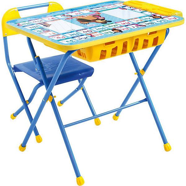 Комплект мебели Nika Kids Маша и Медведь Азбука 2 (большой пенал)Детские столы и стулья<br>Характеристики:<br><br>• возраст: от 3 лет;<br>• материал: металл, пластик;<br>• размер: столешницы - 60х45 см, сиденья - 26х29 см;<br>• встроенный пенал;<br>• подставка для ног;<br>• пластиковый стул;<br>• высота: стол - 58 см, спинка стула - 61 см, до сиденья - 35 см;<br>• вес упаковки: 8,24 кг.;<br>• размер упаковки: 75х61,5х16 см;<br>• страна производитель: Россия.<br><br>Комплект из стола и стула от Nika станет первым собственным рабочим местом малыша. Удобная конструкция делает столик универсальным и для совсем юных, и для подросших детей.<br><br>Поверхность столешницы имеет глянцевое цветное покрытие с обучающими рисунками. Подходит для рисования маркерами на водной основе. Скругленные углы столешницы обеспечивают безопасное использование.<br><br>Сиденье и спинка стула выполнены из прочного пластика, легко моются. Комплект разработан из качественных материалов с учетом правильного развития детской осанки. Отлично подойдет для обучения и игр.<br><br>Комплект «Азбука 2: Маша и Медведь» КПУ2П/2 можно купить в нашем интернет-магазине.<br>Ширина мм: 750; Глубина мм: 615; Высота мм: 160; Вес г: 8240; Цвет: синий; Возраст от месяцев: 36; Возраст до месяцев: 84; Пол: Унисекс; Возраст: Детский; SKU: 7483571;