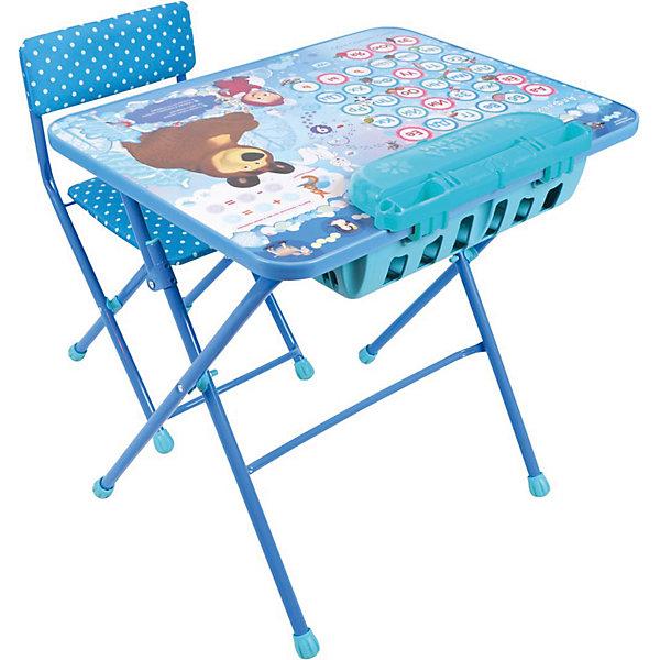 Комплект мебели Nika Kids Маша и Медведь Азбука 4 (большой пенал, мягкое сиденье)Детские столы и стулья<br>Характеристики:<br><br>• возраст: от 3 лет;<br>• материал: металл, пластик;<br>• размер: столешницы - 60х45 см, сиденья - 31х27 см;<br>• встроенный пенал;<br>• подставка для ног;<br>• мягкий стул;<br>• высота: стол - 58 см, спинка стула - 57 см, до сиденья - 32 см;<br>• вес упаковки: 8,15 кг.;<br>• размер упаковки: 75х61,5х16 см;<br>• страна производитель: Россия.<br><br>Комплект из стола и стула от Nika станет первым собственным рабочим местом малыша. Удобная конструкция делает столик универсальным и для совсем юных, и для подросших детей.<br><br>Поверхность столешницы имеет ламинированное покрытие с обучающими рисунками. Подходит для рисования маркерами на водной основе. Скругленные углы столешницы обеспечивают безопасное использование.<br><br>Сиденье и спинка стула мягкие, что делает занятия комфортнее. Комплект разработан из качественных материалов с учетом правильного развития детской осанки. Отлично подойдет для обучения и игр.<br><br>Комплект «Азбука 4: Маша и Медведь» КУ2П/18 можно купить в нашем интернет-магазине.<br>Ширина мм: 750; Глубина мм: 615; Высота мм: 160; Вес г: 8150; Цвет: синий; Возраст от месяцев: 36; Возраст до месяцев: 84; Пол: Унисекс; Возраст: Детский; SKU: 7483575;