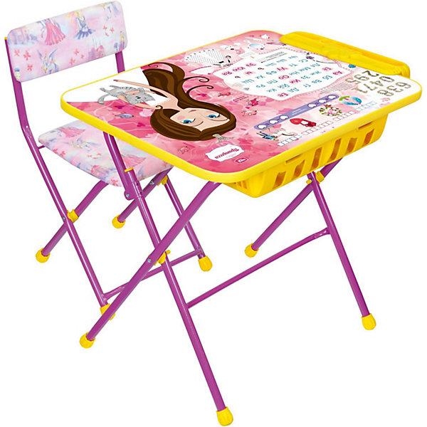 Комплект мебели Nika Kids Маленькая принцесса (мягкое сиденье)Детские столы и стулья<br>Характеристики:<br><br>• возраст: от 3 лет;<br>• материал: металл, пластик;<br>• размер: столешницы - 60х45 см, сиденья - 31х27 см;<br>• встроенный пенал;<br>• подставка для ног;<br>• мягкий стул;<br>• высота: стол - 58 см, спинка стула - 57 см, до сиденья - 32 см;<br>• вес упаковки: 8,15 кг.;<br>• размер упаковки: 75х61,5х16 см;<br>• страна производитель: Россия.<br><br>Комплект из стола и стула от Nika станет первым собственным рабочим местом малыша. Удобная конструкция делает столик универсальным и для совсем юных, и для подросших детей.<br><br>Поверхность столешницы имеет ламинированное покрытие с обучающими рисунками. Подходит для рисования маркерами на водной основе. Скругленные углы столешницы обеспечивают безопасное использование.<br><br>Сиденье и спинка стула мягкие, что делает занятия комфортнее. Комплект разработан из качественных материалов с учетом правильного развития детской осанки. Отлично подойдет для обучения и игр.<br><br>Комплект «Маленькая принцесса» КУ2П/17 можно купить в нашем интернет-магазине.<br>Ширина мм: 750; Глубина мм: 615; Высота мм: 160; Вес г: 8150; Цвет: розовый; Возраст от месяцев: 36; Возраст до месяцев: 84; Пол: Женский; Возраст: Детский; SKU: 7483581;