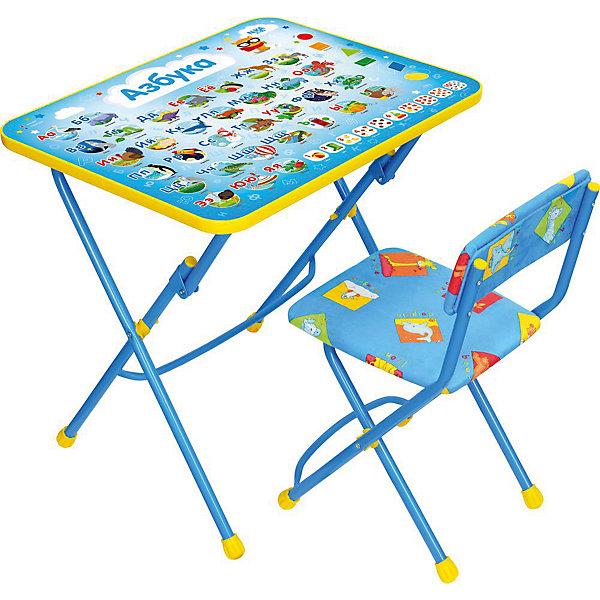 Комплект мебели Nika Kids Азбука (мягкое сиденье)Детские столы и стулья<br>Характеристики:<br><br>• возраст: от 3 лет;<br>• материал: металл, пластик;<br>• размер: столешницы - 60х45 см, сиденья - 31х27 см;<br>• пенал: нет;<br>• подставка для ног;<br>• мягкий стул;<br>• высота: стол - 58 см, спинка стула - 57 см, до сиденья - 32 см;<br>• вес упаковки: 7,45 кг.;<br>• размер упаковки: 75х61,5х16 см;<br>• страна производитель: Россия.<br><br>Комплект из стола и стула от Nika станет первым собственным рабочим местом малыша. Удобная конструкция делает столик универсальным и для совсем юных, и для подросших детей.<br><br>Поверхность столешницы имеет глянцевое цветное покрытие с обучающими рисунками. Подходит для рисования маркерами на водной основе. Скругленные углы столешницы обеспечивают безопасное использование.<br><br>Сиденье и спинка стула мягкие, что делает занятия комфортнее. Комплект разработан из качественных материалов с учетом правильного развития детской осанки. Отлично подойдет для обучения и игр.<br><br>Комплект «Азбука» КУ1/9 можно купить в нашем интернет-магазине.<br>Ширина мм: 750; Глубина мм: 615; Высота мм: 160; Вес г: 7450; Цвет: синий; Возраст от месяцев: 36; Возраст до месяцев: 84; Пол: Унисекс; Возраст: Детский; SKU: 7483587;