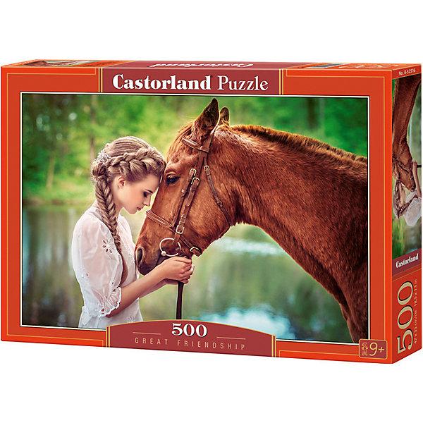 Пазл Castorland Девушка и лошадь 500 деталейПазлы классические<br>Характеристики товара:<br><br>• возраст: от 6 лет;<br>• количество деталей: 500 шт;<br>• материал: картон;<br>• размер упаковки: 32х22х4,7 см;<br>• размер картины: 47х33 см;<br>• вес упаковки: 320 гр.;<br>• страна производитель: Польша.<br><br>Пазл Castorland (Касторлэнд) Девушка и лошадь – это отличный способ увлекательно провести досуг, снять стресс и развить моторику.<br><br>Качество этих пазлов подтверждено миллионами любителей сборки пазлов. Пазлы Castorland собираются легко. Каждая деталь имеет индивидуальную форму и легко соединяется с другой, поэтому у Вас обязательно получится ожидаемый результат - картина собранная собственными руками.<br><br>Пазл Castorland (Касторлэнд) Девушка и лошадь можно купить в нашем интернет-магазине.<br>Ширина мм: 320; Глубина мм: 220; Высота мм: 47; Вес г: 300; Возраст от месяцев: 72; Возраст до месяцев: 2147483647; Пол: Унисекс; Возраст: Детский; SKU: 7487315;