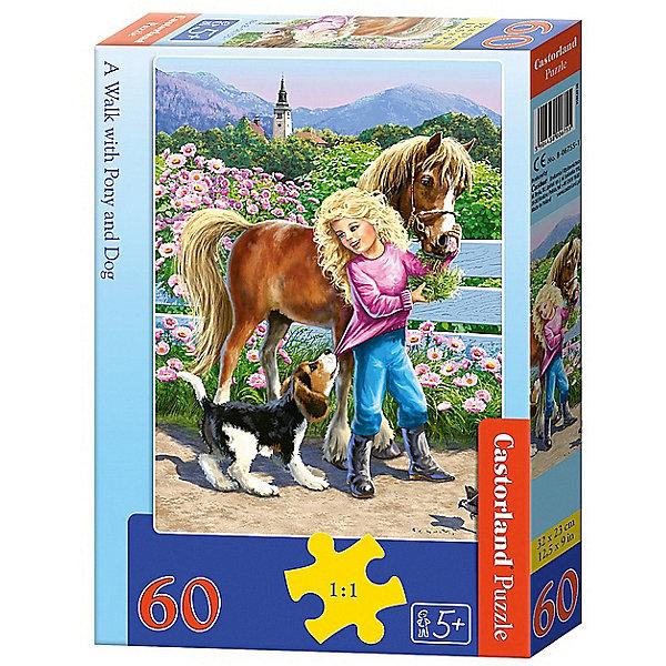 Пазл Castorland Прогулка с пони и собакой 60 деталей MIDIПазлы для малышей<br>Характеристики товара:<br><br>• возраст: от 3 лет;<br>• количество деталей: 60 шт;<br>• материал: картон;<br>• размер упаковки: 17,5х13х3,7 см;<br>• размер картины: 32х23 см;<br>• вес упаковки: 150 гр.;<br>• страна производитель: Польша.<br><br>Пазл Castorland (Касторлэнд)Прогулка с пони и собакой  – это отличный способ увлекательно провести досуг, снять стресс и развить моторику.<br><br>Качество этих пазлов подтверждено миллионами любителей сборки пазлов. Пазлы Castorland собираются легко. Каждая деталь имеет индивидуальную форму и легко соединяется с другой, поэтому у Вас обязательно получится ожидаемый результат - картина собранная собственными руками.<br><br>Пазл Castorland (Касторлэнд)Прогулка с пони и собакой можно купить в нашем интернет-магазине.<br>Ширина мм: 180; Глубина мм: 130; Высота мм: 40; Вес г: 150; Возраст от месяцев: 36; Возраст до месяцев: 2147483647; Пол: Унисекс; Возраст: Детский; SKU: 7487360;