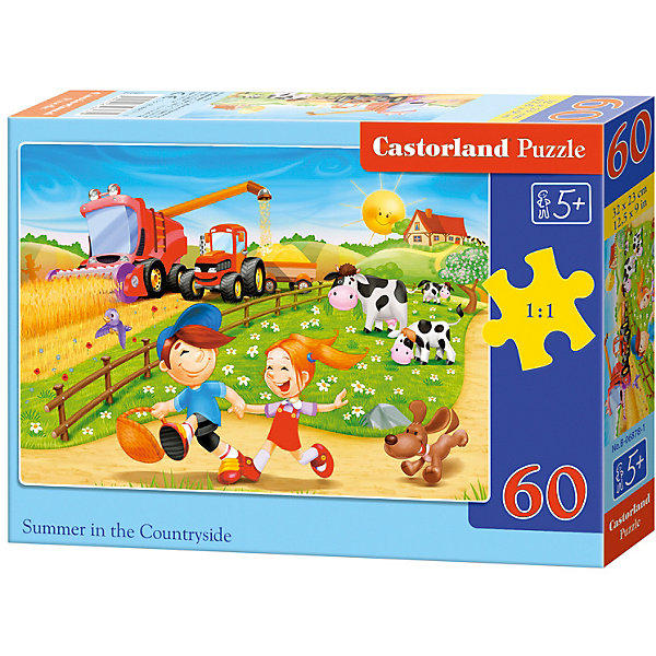 Пазл Castorland Лето в деревне 60 деталей MIDIПазлы для малышей<br>Характеристики товара:<br><br>• возраст: от 3 лет;<br>• количество деталей: 60 шт;<br>• материал: картон;<br>• размер упаковки: 17,5х13х3,7 см;<br>• размер картины: 32х23 см;<br>• вес упаковки: 150 гр.;<br>• страна производитель: Польша.<br><br>Пазл Castorland (Касторлэнд) Лето в деревне  – это отличный способ увлекательно провести досуг, снять стресс и развить моторику.<br><br>Качество этих пазлов подтверждено миллионами любителей сборки пазлов. Пазлы Castorland собираются легко. Каждая деталь имеет индивидуальную форму и легко соединяется с другой, поэтому у Вас обязательно получится ожидаемый результат - картина собранная собственными руками.<br><br>Пазл Castorland (Касторлэнд) Лето в деревне  можно купить в нашем интернет-магазине.<br><br>Ширина мм: 180<br>Глубина мм: 130<br>Высота мм: 40<br>Вес г: 150<br>Возраст от месяцев: 36<br>Возраст до месяцев: 2147483647<br>Пол: Унисекс<br>Возраст: Детский<br>SKU: 7487371