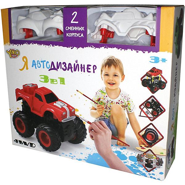 Я Автодизайнер, Игровой набор 3 в 1, YakoНаборы для росписи<br>Характеристики:<br><br>• возраст: от 3 лет<br>• в наборе: полноприводная машина с 2-мя корпусами под раскраску; набор акриловых красок на водной основе (5 цветов); 2 кисточки; стаканчик.<br>• характеристики машины: мягкие колеса; съемный корпус; мощный привод для трюков; подъем на дыбы; преодолевает препятствия; кручение на задних колесах.<br>• материал: полимерный материал с элементами из металла<br>• упаковка: картонная коробка<br>• размер упаковки: 25x6,5x22 см.<br>• вес: 274 гр.<br><br>Набор с полноприводной машиной и 2-мя корпусами под раскраску приведет в восторг юного автогонщика.<br><br>Машина имеет особую конструкцию, предполагающую связь всех 4-х колёс и мощный инерционный механизм. Тип инерционного механизма – фрикционный, т.е. машину можно разогнать, сделав несколько поступательных движений, прижимая её к поверхности. При постановке машины «на дыбы» (вертикально на задних колёсах) она вращается вокруг своей оси.<br><br>В состав набора включены краски, кисточки, стаканчик и 2 сменных корпуса под раскраску, что позволяет изменить внешний облик машины. Смена корпуса производится с помощью нажатия на кнопку, расположенную сзади на базовой части машины.<br><br>Набор выполнен из материалов высокого качества, имеет требуемый сертификат соответствия.<br><br>Игровой набор 3 в 1 «Я Автодизайнер» Yako (Йако) можно купить в нашем интернет-магазине.<br>Ширина мм: 250; Глубина мм: 65; Высота мм: 220; Вес г: 274; Возраст от месяцев: 36; Возраст до месяцев: 108; Пол: Мужской; Возраст: Детский; SKU: 7490411;