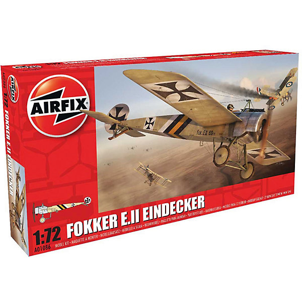 Сборная модель Airfix Истребитель Fokker E.II Eindecker 1:72Самолеты и вертолеты<br>Характеристики:<br><br>• возраст: от 8 лет;<br>• материал: пластик;<br>• масштаб: 1:72;<br>• количество элементов: 36;<br>• схема покраски;<br>• клей и краски: не в наборе;<br>• длина модели: 10 см;<br>• размах крыльев: 14 см;<br>• вес упаковки: 80 гр.;<br>• размер упаковки: 12,6х3х23,5 см;<br>• страна бренда: Великобритания.<br><br>Модель для сборки Fokker E.II Eindecker от Airfix изображает одноименный военный истребитель. Каждая деталь выполнена из качественного пластика, элементы детализированы под покраску.<br><br>В подробной инструкции описаны шаги к созданию идентичной копии самолета. Конструирование модели развивает усидчивость и внимательность, повышает творческие способности и задействует пространственное мышление.<br><br>Готовая модель может стать отличным подарком близким, личным сувениром или частью коллекции сборных моделей.<br><br>Сборную модель Fokker E.II Eindecker 1:72 можно купить в нашем интернет-магазине.<br>Ширина мм: 126; Глубина мм: 30; Высота мм: 235; Вес г: 80; Возраст от месяцев: 96; Возраст до месяцев: 2147483647; Пол: Мужской; Возраст: Детский; SKU: 7490424;