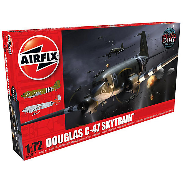Сборная модель Airfix Самолет Douglas Dakota C-47 Skytrain 1:72Самолеты и вертолеты<br>Характеристики:<br><br>• возраст: от 8 лет;<br>• материал: пластик;<br>• масштаб: 1:72;<br>• количество элементов: 142;<br>• схема покраски;<br>• клей и краски: не в наборе;<br>• длина модели: 27,3 см;<br>• размах крыльев: 40 см;<br>• вес упаковки: 599 гр.;<br>• размер упаковки: 45,2х25х6 см;<br>• страна бренда: Великобритания.<br><br>Модель для сборки Douglas Dakota C-47 Skytrain от Airfix изображает одноименный военный самолет. Каждая деталь выполнена из качественного пластика, элементы детализированы под покраску.<br><br>В подробной инструкции описаны шаги к созданию идентичной копии самолета. Конструирование модели развивает усидчивость и внимательность, повышает творческие способности и задействует пространственное мышление.<br><br>Готовая модель может стать отличным подарком близким, личным сувениром или частью коллекции сборных моделей.<br><br>Сборную модель Douglas Dakota C-47 Skytrain 1:72 можно купить в нашем интернет-магазине.<br>Ширина мм: 452; Глубина мм: 250; Высота мм: 60; Вес г: 599; Возраст от месяцев: 96; Возраст до месяцев: 2147483647; Пол: Мужской; Возраст: Детский; SKU: 7490458;