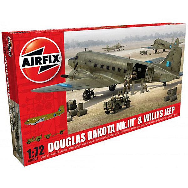 Набор Airfix Самолет Douglas Dakota MkIII with Willys Jeep! 1:72Самолеты и вертолеты<br>Характеристики:<br><br>• возраст: от 8 лет;<br>• материал: пластик;<br>• масштаб: 1:72;<br>• количество элементов: 213;<br>• схема покраски;<br>• клей и краски: не в наборе;<br>• длина модели: самолет - 27,3 см; джип - 4,7 см;<br>• размах крыльев: 40 см;<br>• ширина джипа: 2,4 см;<br>• вес упаковки: 624 гр.;<br>• размер упаковки: 45,2х5,9х25 см;<br>• страна бренда: Великобритания.<br><br>Набор моделей для сборки Douglas Dakota MkIII with Willys Jeep от Airfix изображает одноименный самолет и военную машину. Каждая деталь выполнена из качественного пластика, элементы детализированы под покраску.<br><br>В подробной инструкции описаны шаги к созданию идентичных копий техники. Конструирование моделей развивает усидчивость и внимательность, повышает творческие способности и задействует пространственное мышление.<br><br>Готовые модели могут стать отличным подарком близким, личным сувениром или частью коллекции сборных моделей.<br><br>Сборную модель Douglas Dakota MkIII with Willys Jeep 1:72 можно купить в нашем интернет-магазине.<br>Ширина мм: 452; Глубина мм: 59; Высота мм: 250; Вес г: 624; Возраст от месяцев: 96; Возраст до месяцев: 2147483647; Пол: Мужской; Возраст: Детский; SKU: 7490463;