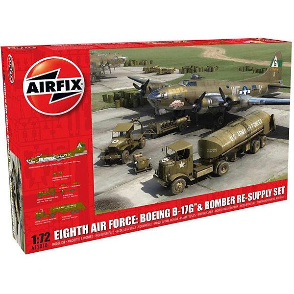 Набор Airfix  Самолет Boeing B-17G и аэродромная техникаСамолеты и вертолеты<br>Характеристики:<br><br>• возраст: от 8 лет;<br>• материал: пластик;<br>• масштаб: 1:72;<br>• количество элементов: 449;<br>• схема покраски;<br>• клей и краски: не в наборе;<br>• длина модели: 32 см;<br>• размах крыльев: 43,8 см;<br>• вес упаковки: 1,01 кг.;<br>• размер упаковки: 50х32х8 см;<br>• страна бренда: Великобритания.<br><br>Модель для сборки Boeing B-17G от Airfix изображает одноименный тяжелый бомбардировщик. Кроме того, в наборе представлен сет из военной техники: седельный тягач Autocar u-7144-t с топливной цистерной F-1, грузовичок Chevrolet M6 bomb service truck с бомбовой тележкой M5 на прицепе и мотороллер Cushman model 39 package car.<br><br>Каждая деталь выполнена из качественного пластика, элементы детализированы под покраску. В подробной инструкции описаны шаги к созданию идентичных копий. Конструирование моделей развивает усидчивость и внимательность, повышает творческие способности и задействует пространственное мышление.<br><br>Любая из моделей может стать отличным подарком близким, личным сувениром или частью коллекции сборных моделей.<br><br>Сборную модель Самолет Boeing B-17G + аэродромная техника можно купить в нашем интернет-магазине.<br>Ширина мм: 500; Глубина мм: 320; Высота мм: 80; Вес г: 1019; Возраст от месяцев: 96; Возраст до месяцев: 2147483647; Пол: Мужской; Возраст: Детский; SKU: 7490467;