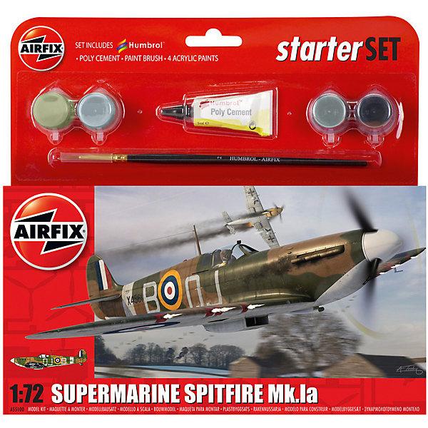 Подарочный набор Airfix Самолет Supermarine Spitfire MkIa  1:72Военная техника и панорама<br>Характеристики:<br><br>• возраст: от 8 лет;<br>• материал: пластик;<br>• количество элементов: 36;<br>• масштаб: 1:72;<br>• схема покраски;<br>• в наборе: клей, кисточка, 4 краски;<br>• длина модели: 12,7 см;<br>• размах крыльев: 15,6 см;<br>• вес упаковки: 141 гр.;<br>• размер упаковки: 23,1х3,1х22,5 см;<br>• страна бренда: Великобритания.<br><br>Модель для сборки Supermarine Spitfire MkIa от Airfix изображает одноименный самолет. Каждая деталь выполнена из качественного пластика, элементы детализированы под покраску.<br><br>В подробной инструкции описаны шаги к созданию идентичной копии самолета. Конструирование модели развивает усидчивость и внимательность, повышает творческие способности и задействует пространственное мышление. Стартовый набор подойдет для начинающих моделистов.<br><br>Готовая модель может стать отличным подарком близким, личным сувениром или частью коллекции сборных моделей.<br><br>Подарочный набор – Supermarine Spitfire MkIa Starter Set 1:72 можно купить в нашем интернет-магазине.<br>Ширина мм: 231; Глубина мм: 31; Высота мм: 225; Вес г: 141; Возраст от месяцев: 96; Возраст до месяцев: 2147483647; Пол: Мужской; Возраст: Детский; SKU: 7490481;