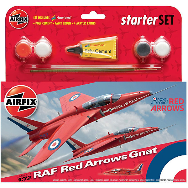 Подарочный набор Airfix Истребитель RAF Red Arrows Gnat  1:72Военная техника и панорама<br>Характеристики:<br><br>• возраст: от 8 лет;<br>• материал: пластик;<br>• количество элементов: 50;<br>• масштаб: 1:72;<br>• схема покраски;<br>• в наборе: клей, кисточка, 4 краски;<br>• длина модели: 16 см;<br>• размах крыльев: 10,2 см;<br>• вес упаковки: 142 гр.;<br>• размер упаковки: 23,3х3х22,5 см;<br>• страна бренда: Великобритания.<br><br>Модель для сборки RAF Red Arrows Gnat от Airfix изображает одноименный самолет. Каждая деталь выполнена из качественного пластика, элементы детализированы под покраску.<br><br>В подробной инструкции описаны шаги к созданию идентичной копии самолета. Конструирование модели развивает усидчивость и внимательность, повышает творческие способности и задействует пространственное мышление. Стартовый набор подойдет для начинающих моделистов.<br><br>Готовая модель может стать отличным подарком близким, личным сувениром или частью коллекции сборных моделей.<br><br>Подарочный набор – RAF Red Arrows Gnat Starter Set 1:72 можно купить в нашем интернет-магазине.<br>Ширина мм: 233; Глубина мм: 30; Высота мм: 225; Вес г: 142; Возраст от месяцев: 96; Возраст до месяцев: 2147483647; Пол: Мужской; Возраст: Детский; SKU: 7490482;